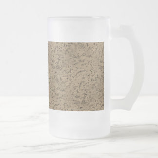 Wheat Natural Cork Bark Look Wood Grain Frosted Glass Beer Mug