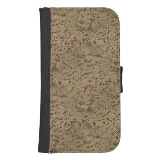 Wheat Natural Cork Bark Look Wood Grain Galaxy S4 Wallet Case