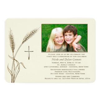 Wheat Religious One Photo Invitation