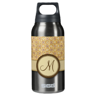 Wheat Sand Coin Pattern with Monogram Insulated Water Bottle