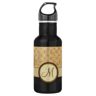 Wheat Sand Coin Pattern with Monogram Water Bottle