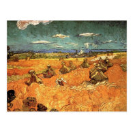 wheat Stacks with Reaper Post Card