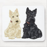Wheaten and Black Scottish Terriers Mousepad