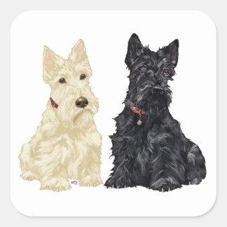 Wheaten and Black Scottish Terriers Square Sticker