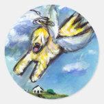 Wheaten angel flys free round stickers