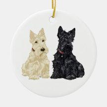 Wheaten & Black Scottie Dog Ornament