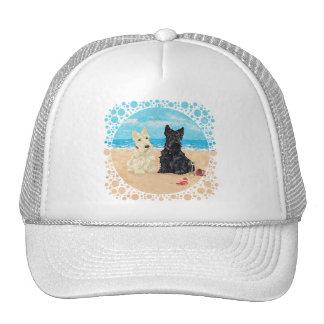 Wheaten & Black Scotties at the Beach Trucker Hat