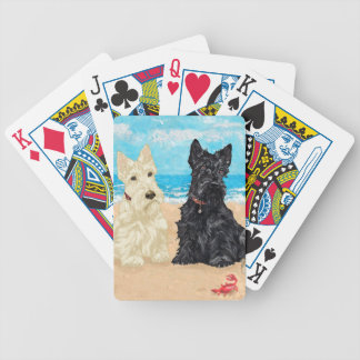 Wheaten & Black Scotties at the Beach Bicycle Poker Cards