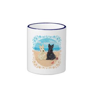 Wheaten & Black Scotties at the Beach Ringer Mug