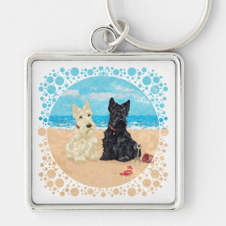 Wheaten & Black Scotties at the Beach Silver-Colored Square Keychain