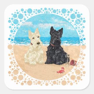 Wheaten & Black Scotties at the Beach Square Sticker