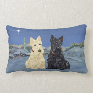Wheaten Black Scotties Christmas Lumbar Pillow