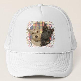 Wheaten & Black Scotties on Tartan Trucker Hat