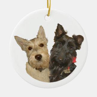 Wheaten & Black Scottish Terriers Ceramic Ornament
