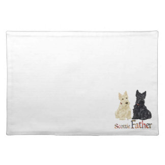 Wheaten & Black Scottish Terriers Father Cloth Placemat