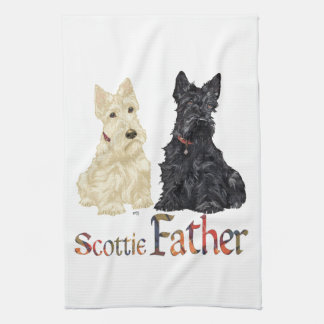 Wheaten & Black Scottish Terriers Father Hand Towel