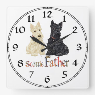 Wheaten & Black Scottish Terriers Father Square Wall Clock