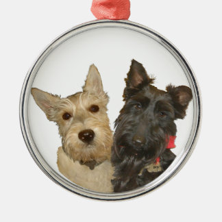 Wheaten & Black Scottish Terriers Metal Ornament