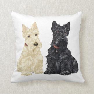 Wheaten & Black Scottish Terriers Throw Pillows