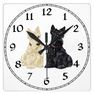 Wheaten & Black Scottish Terriers Square Wall Clock