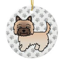 Wheaten Cairn Terrier Dog Cute Illustration & Paws Ceramic Ornament