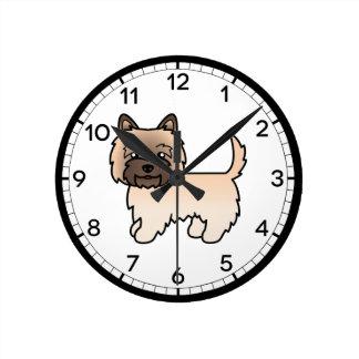 Wheaten Cairn Terrier Dog Cute Illustration Round Clock