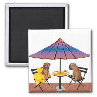 Wheaten Chat 2 Inch Square Magnet