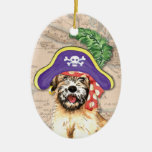 Wheaten Pirate Double-Sided Oval Ceramic Christmas Ornament