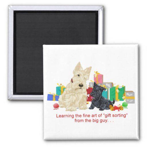 Wheaten Scottie and Pup Holiday Magnet