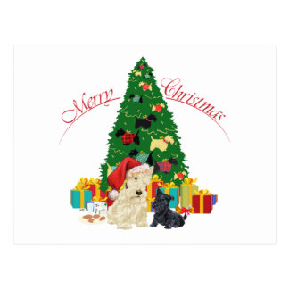 Wheaten Scottie and Pup Holiday Postcard