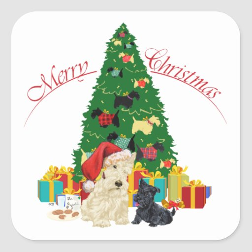 Wheaten Scottie and Pup Holiday Square Stickers