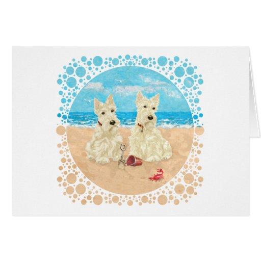 Wheaten Scotties at the Beach Greeting Card