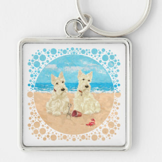 Wheaten Scotties at the Beach Silver-Colored Square Keychain
