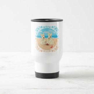 Wheaten Scotties at the Beach Travel Mug