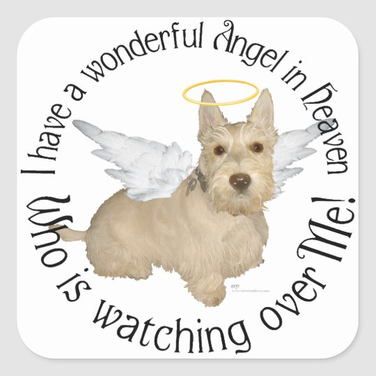 Wheaten Scottish Terrier Angels Square Sticker