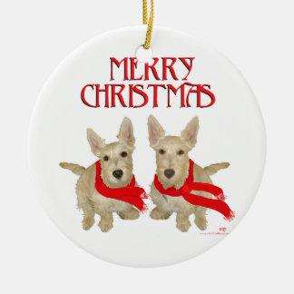 Wheaten Scottish Terrier Chirstmas Ceramic Ornament