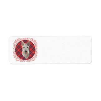 Wheaten Scottish Terrier on Tartan Label