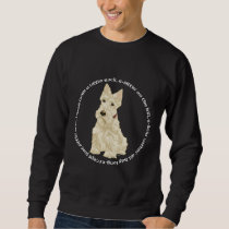 Wheaten Scottish Terrier Ponders Sweatshirt