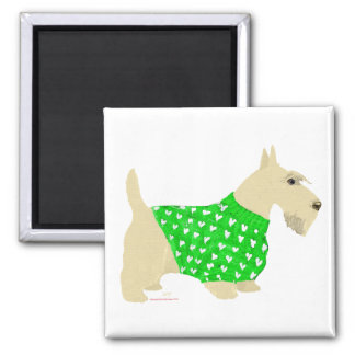 Wheaten Scottish Terrier Sweater 2 Inch Square Magnet