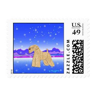 "Wheaten Terrier Art: ""Wheaten Wonderland"" Stamp"