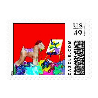 """""""Wheaten Terrier Artist"""" Postage Stamp"""