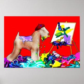 Wheaten Terrier Artist  (Red Bkgd) Poster