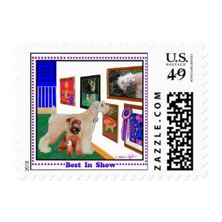 """Wheaten Terrier """"Best In Show (BIS)"""" Postage Stamp"""