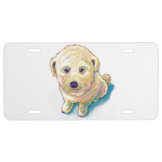 Wheaten terrier crossed with poodle whoodle dog license plate