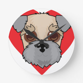 Wheaten Terrier Face Round Clock