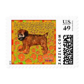 Wheaten Terrier Puppy in Garden Postage Stamps