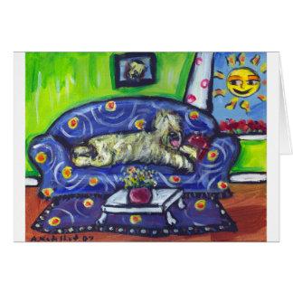 Wheaten Terrier senses smiling moon Greeting Card