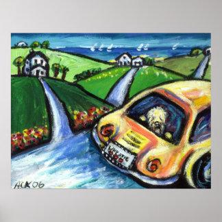 wheaten terrier summer car ride poster