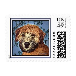 """Wheaten Terrier: """"Wet Puppy"""" Postage Stamp"""