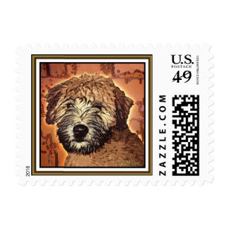 """Wheaten Terrier:  """"Wet Puppy"""" Postage Stamps"""